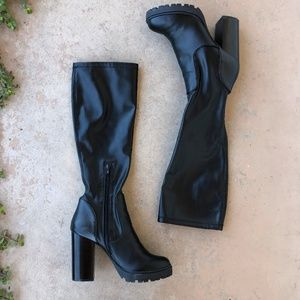 03949e9160e Steve Madden Lately Black Tread Heeled High Boots